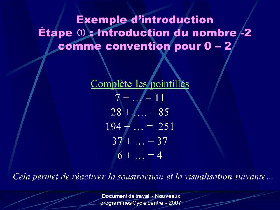 Document de travail - Nouveaux programmes Cycle central - 2007 Complète les pointillés 7 + … = 11 28 + …. = 85 194 + … = 251 37 + … = 37 6 + … = 4 Exe