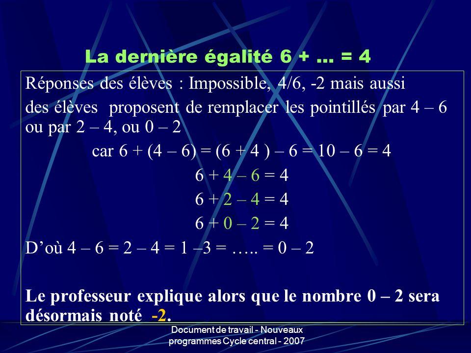 Document de travail - Nouveaux programmes Cycle central - 2007 La dernière égalité 6 + … = 4 Réponses des élèves : Impossible, 4/6, -2 mais aussi des