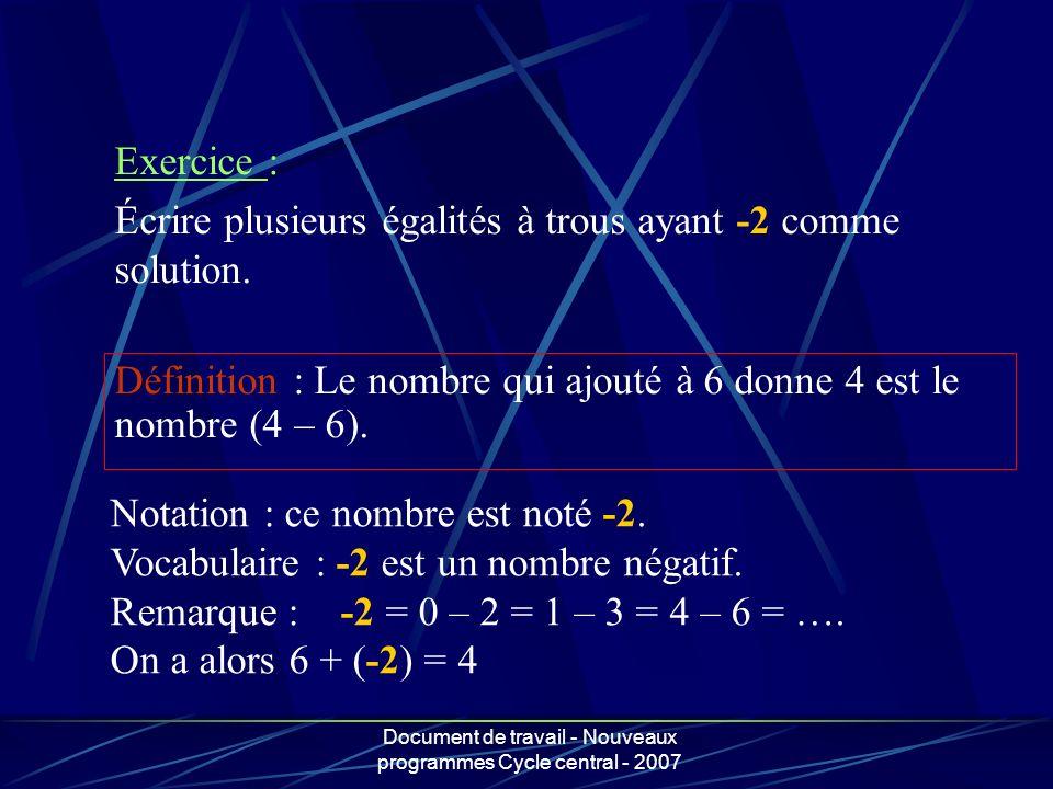Document de travail - Nouveaux programmes Cycle central - 2007 Définition : Le nombre qui ajouté à 6 donne 4 est le nombre (4 – 6). Exercice : Écrire
