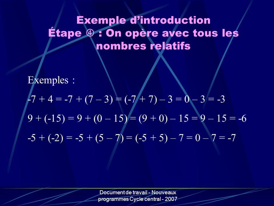 Document de travail - Nouveaux programmes Cycle central - 2007 Exemple dintroduction Étape : On opère avec tous les nombres relatifs Exemples : -7 + 4