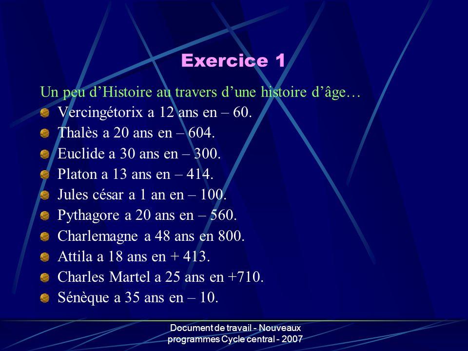 Document de travail - Nouveaux programmes Cycle central - 2007 Un peu dHistoire au travers dune histoire dâge… Vercingétorix a 12 ans en – 60. Thalès
