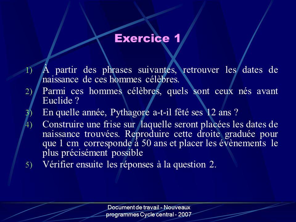 Document de travail - Nouveaux programmes Cycle central - 2007 1) À partir des phrases suivantes, retrouver les dates de naissance de ces hommes célèb