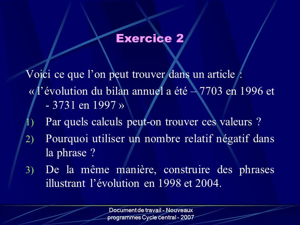 Document de travail - Nouveaux programmes Cycle central - 2007 Voici ce que lon peut trouver dans un article : « lévolution du bilan annuel a été – 77
