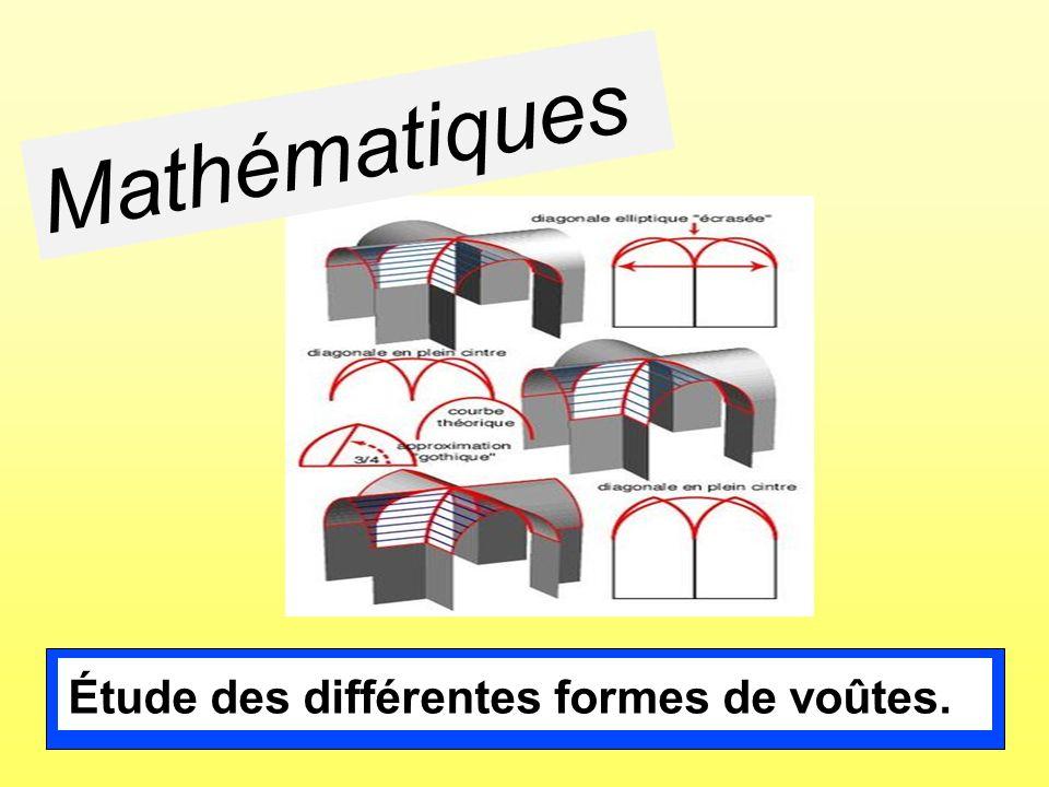 Étude des différentes formes de voûtes. Mathématiques