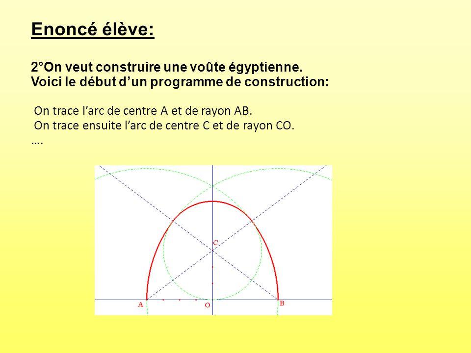 Enoncé élève: 2°On veut construire une voûte égyptienne. Voici le début dun programme de construction: On trace larc de centre A et de rayon AB. On tr