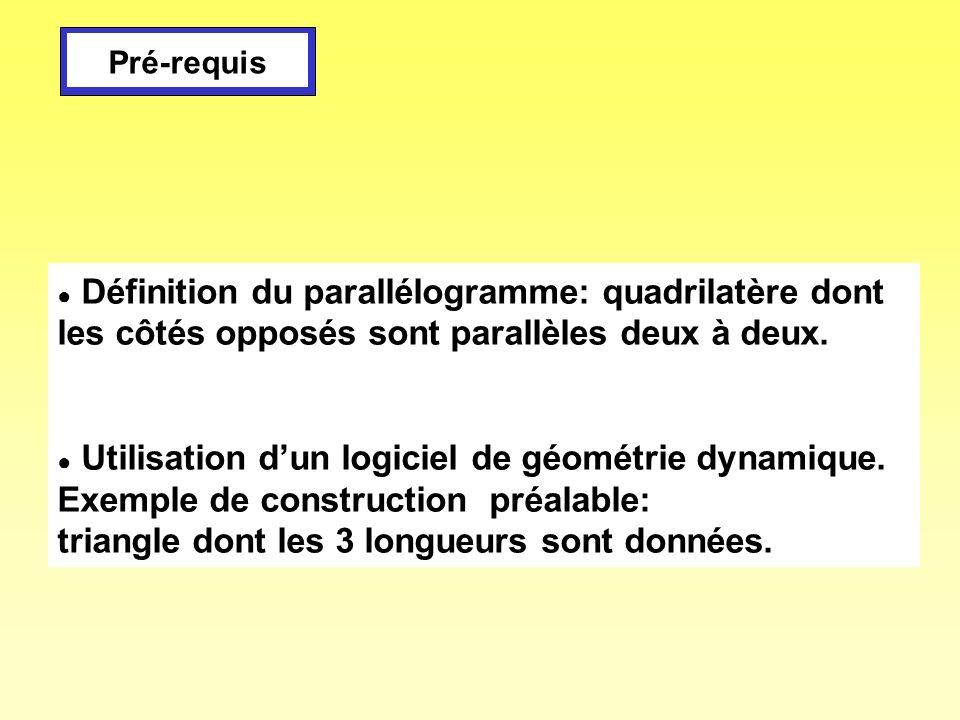 Définition du parallélogramme: quadrilatère dont les côtés opposés sont parallèles deux à deux. Utilisation dun logiciel de géométrie dynamique. Exemp