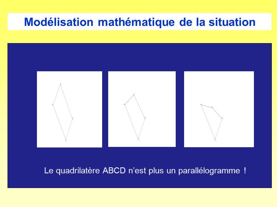 Le quadrilatère ABCD nest plus un parallélogramme !