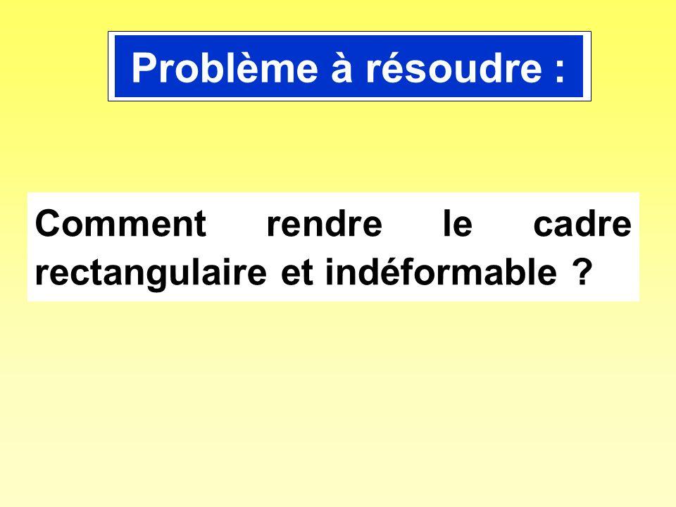 Problème à résoudre : Comment rendre le cadre rectangulaire et indéformable ?