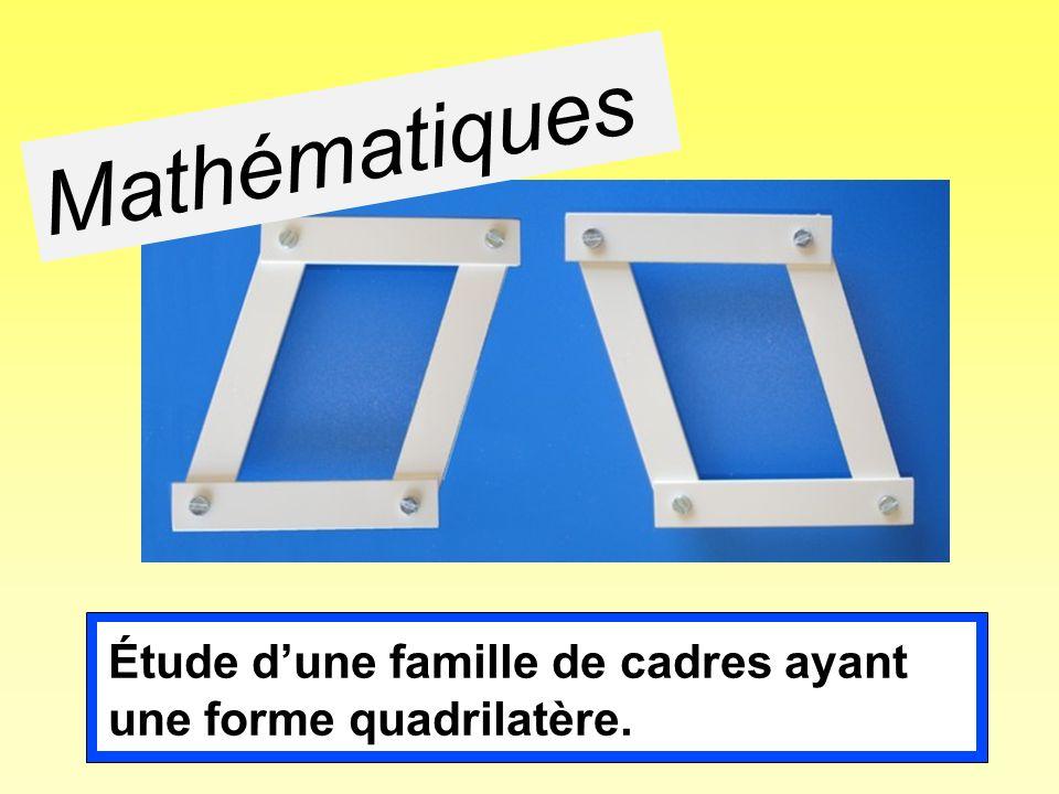 Mathématiques Étude dune famille de cadres ayant une forme quadrilatère.