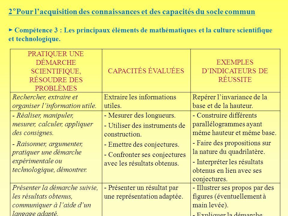 2°Pour lacquisition des connaissances et des capacités du socle commun Compétence 3 : Les principaux éléments de mathématiques et la culture scientifi
