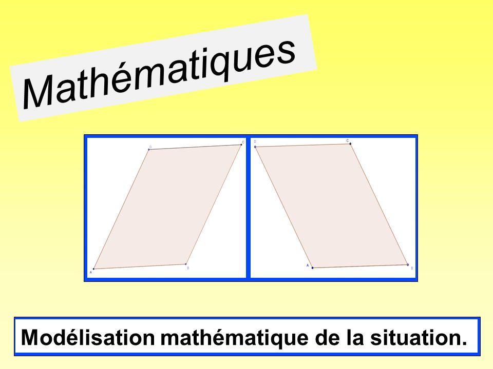 Définition du parallélogramme: quadrilatère dont les côtés opposés sont parallèles deux à deux.