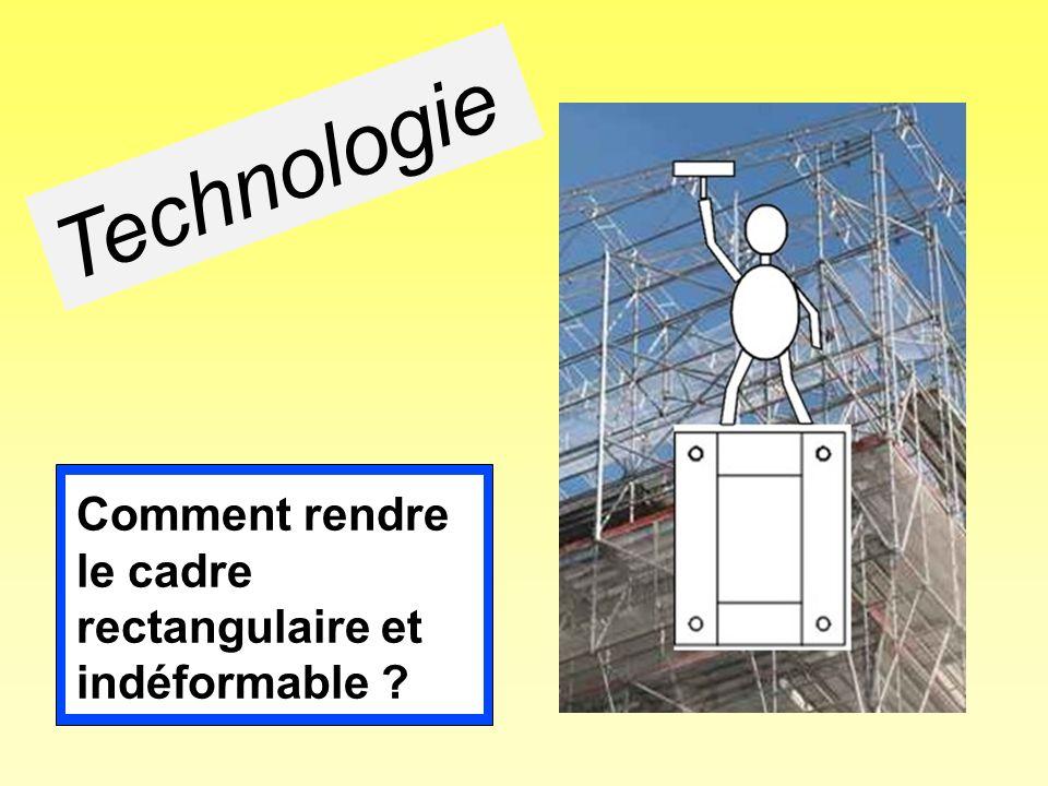 Comment rendre le cadre rectangulaire et indéformable ? Technologie