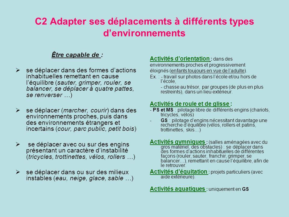 C2 Adapter ses déplacements à différents types denvironnements Être capable de : se déplacer dans des formes dactions inhabituelles remettant en cause