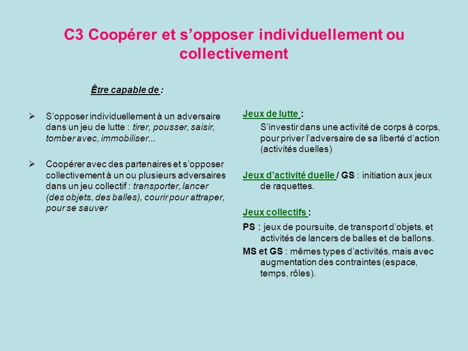 C3 Coopérer et sopposer individuellement ou collectivement Être capable de : Sopposer individuellement à un adversaire dans un jeu de lutte : tirer, p