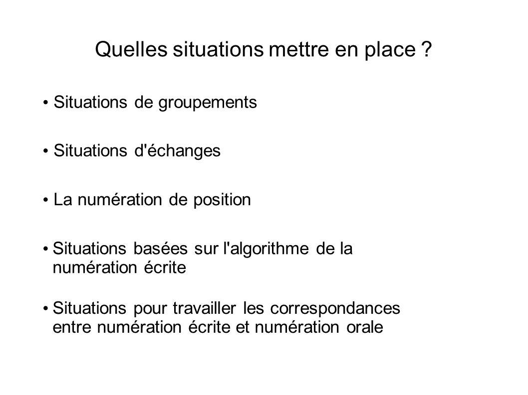Quelles situations mettre en place ? Situations de groupements Situations d'échanges Situations basées sur l'algorithme de la numération écrite Situat