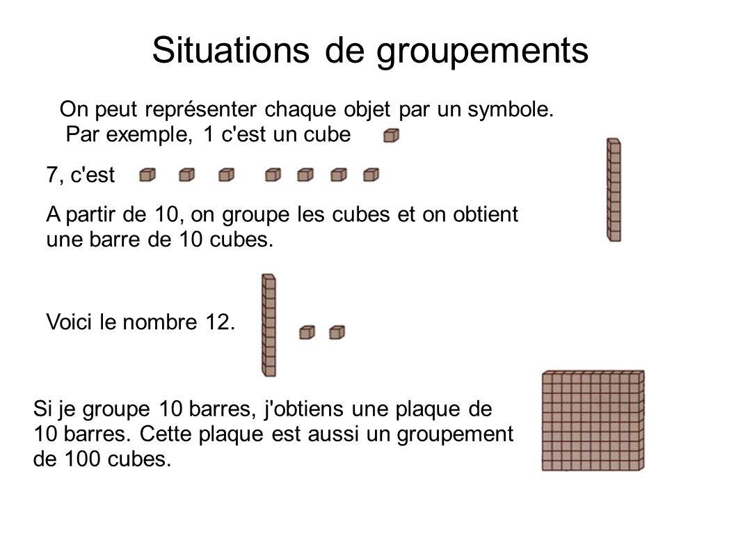 Situations de groupements On peut représenter chaque objet par un symbole. Par exemple, 1 c'est un cube 7, c'est A partir de 10, on groupe les cubes e