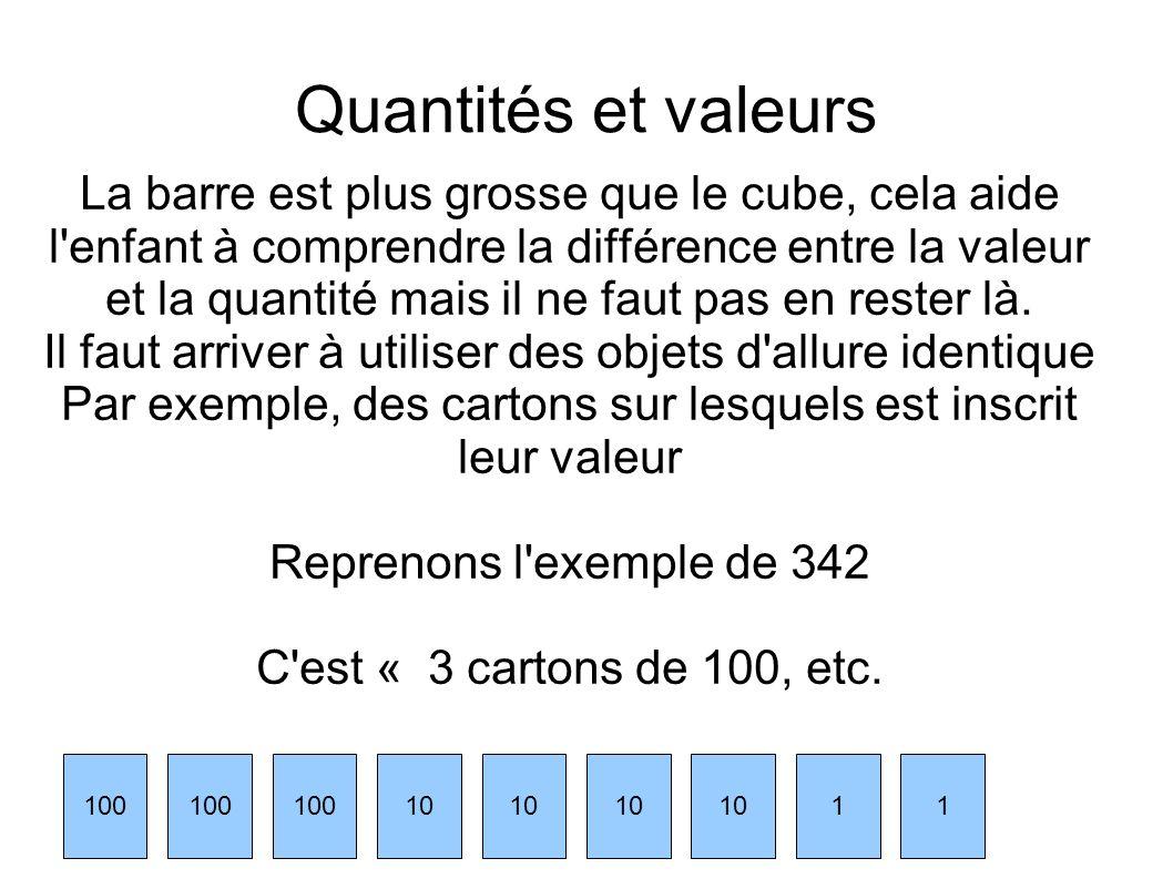 Quantités et valeurs La barre est plus grosse que le cube, cela aide l'enfant à comprendre la différence entre la valeur et la quantité mais il ne fau