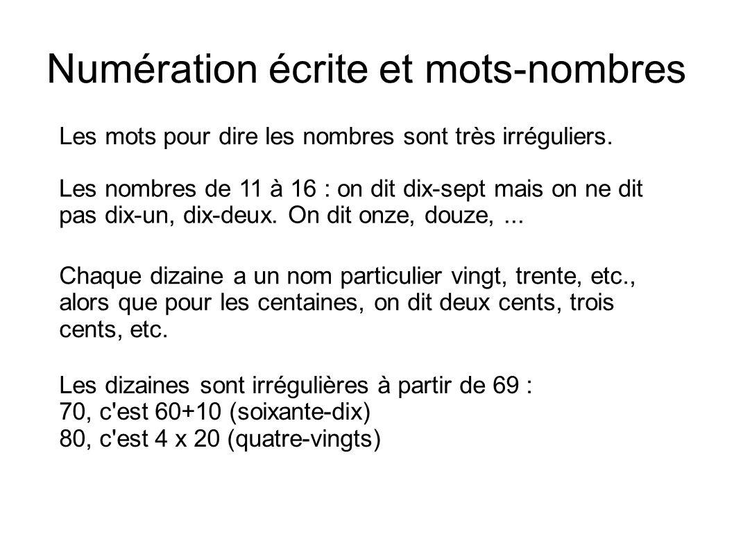 Numération écrite et mots-nombres Les mots pour dire les nombres sont très irréguliers. Chaque dizaine a un nom particulier vingt, trente, etc., alors