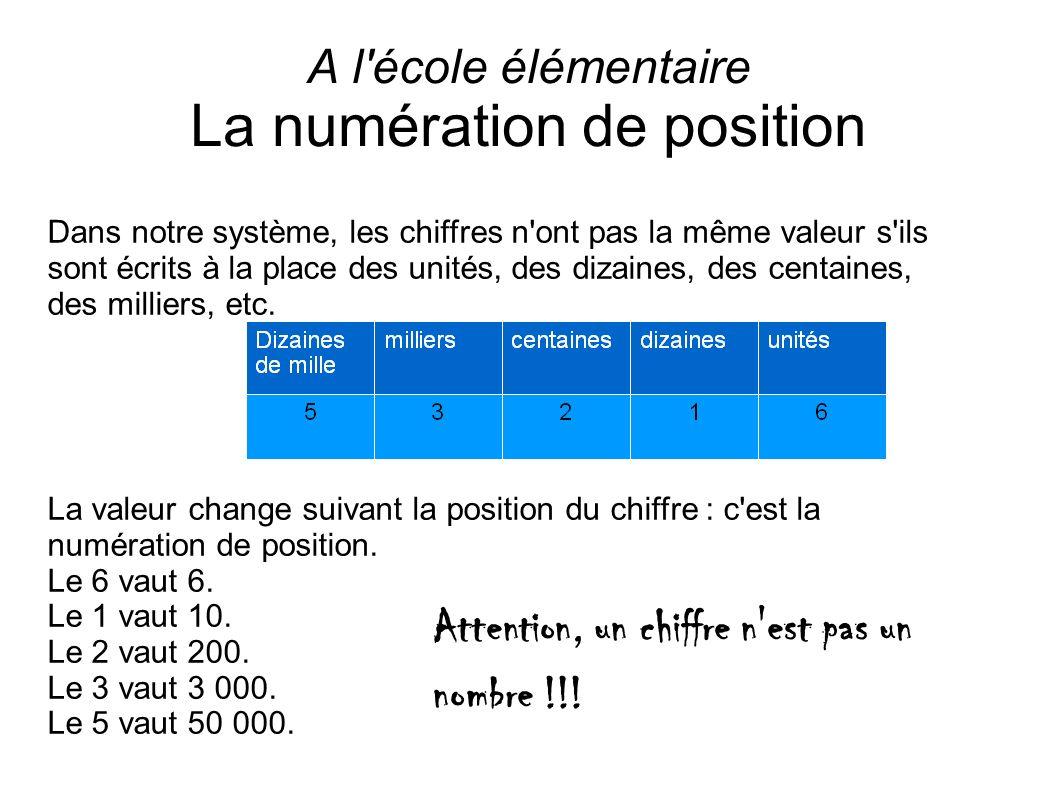 A l'école élémentaire La numération de position Dans notre système, les chiffres n'ont pas la même valeur s'ils sont écrits à la place des unités, des
