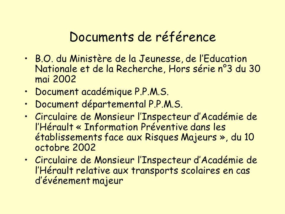 Documents de référence B.O. du Ministère de la Jeunesse, de lEducation Nationale et de la Recherche, Hors série n°3 du 30 mai 2002 Document académique