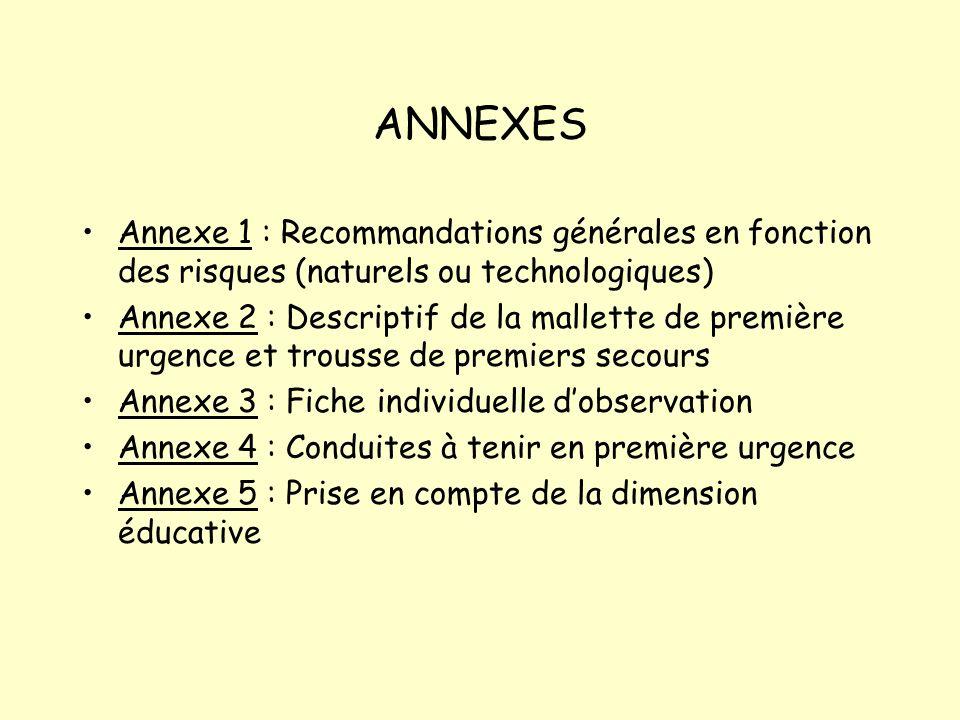 ANNEXES Annexe 1 : Recommandations générales en fonction des risques (naturels ou technologiques) Annexe 2 : Descriptif de la mallette de première urg