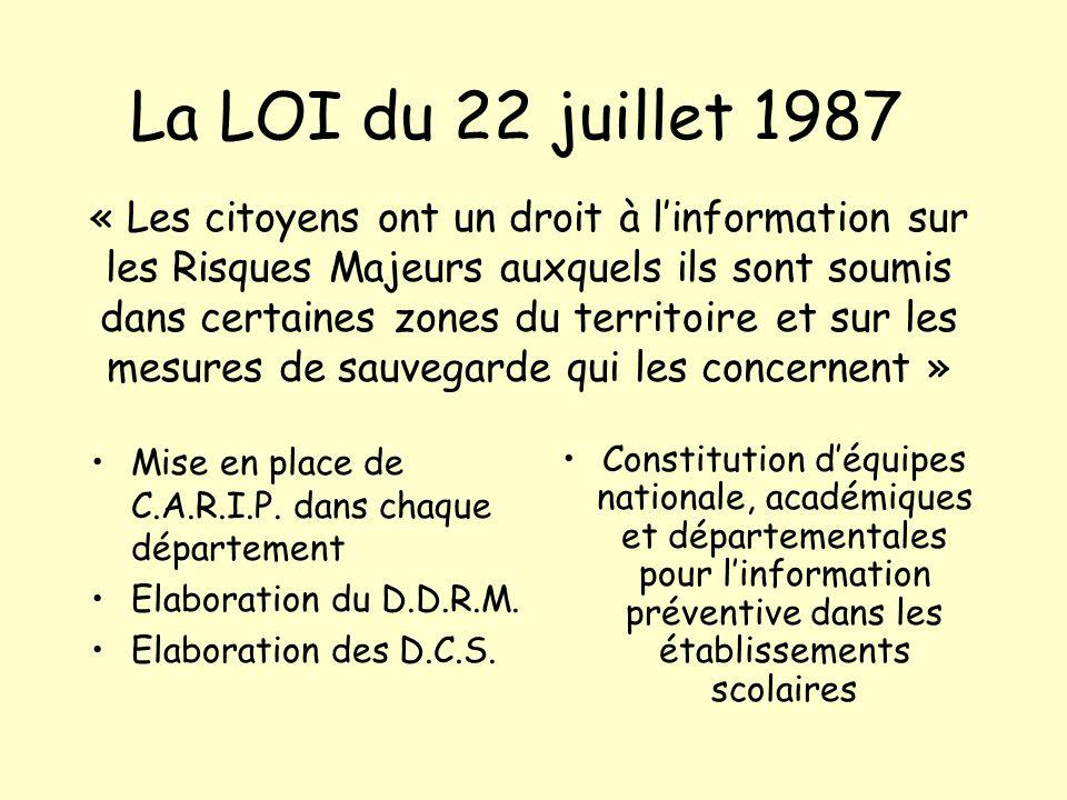 La LOI du 22 juillet 1987 Mise en place de C.A.R.I.P. dans chaque département Elaboration du D.D.R.M. Elaboration des D.C.S. Constitution déquipes nat