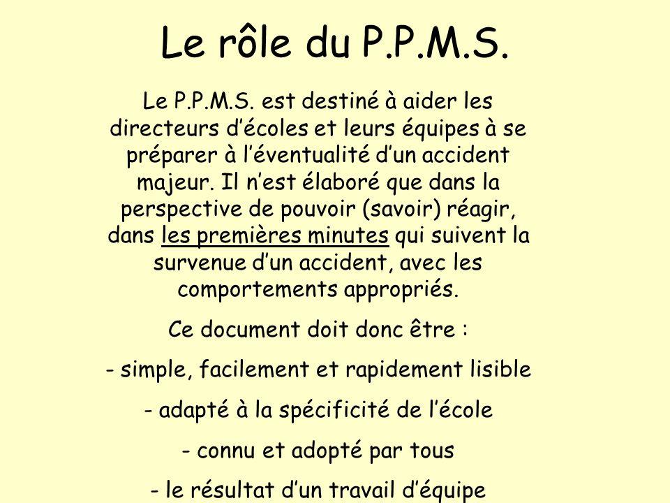 Le rôle du P.P.M.S. Le P.P.M.S. est destiné à aider les directeurs décoles et leurs équipes à se préparer à léventualité dun accident majeur. Il nest