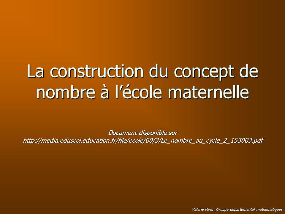 La construction du concept de nombre à lécole maternelle Valérie Plyer, Groupe départemental mathématiques Document disponible sur http://media.edusco