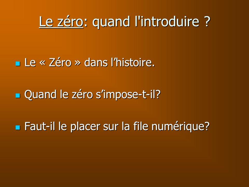 Le zéro: quand l'introduire ? Le « Zéro » dans lhistoire. Le « Zéro » dans lhistoire. Quand le zéro simpose-t-il? Quand le zéro simpose-t-il? Faut-il