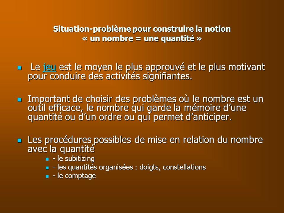 Situation-problème pour construire la notion « un nombre = une quantité » Le jeu est le moyen le plus approuvé et le plus motivant pour conduire des a