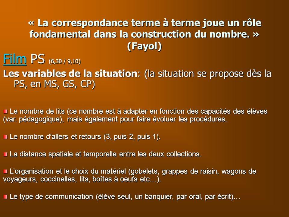 « La correspondance terme à terme joue un rôle fondamental dans la construction du nombre. » (Fayol) FilmFilm PS (6,30 / 9,10) Film Les variables de l