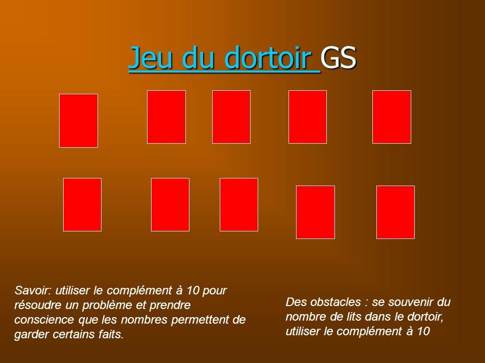 Jeu du dortoir Jeu du dortoir GS Jeu du dortoir Savoir: utiliser le complément à 10 pour résoudre un problème et prendre conscience que les nombres pe