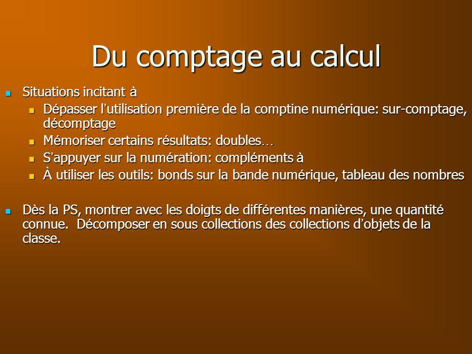 Du comptage au calcul Situations incitant à Situations incitant à D é passer l utilisation premi è re de la comptine num é rique: sur-comptage, d é co