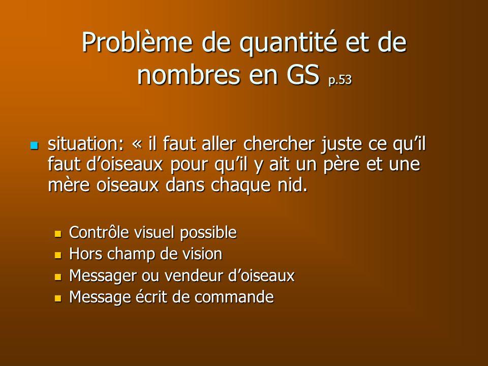 Problème de quantité et de nombres en GS p.53 situation: « il faut aller chercher juste ce quil faut doiseaux pour quil y ait un père et une mère oise
