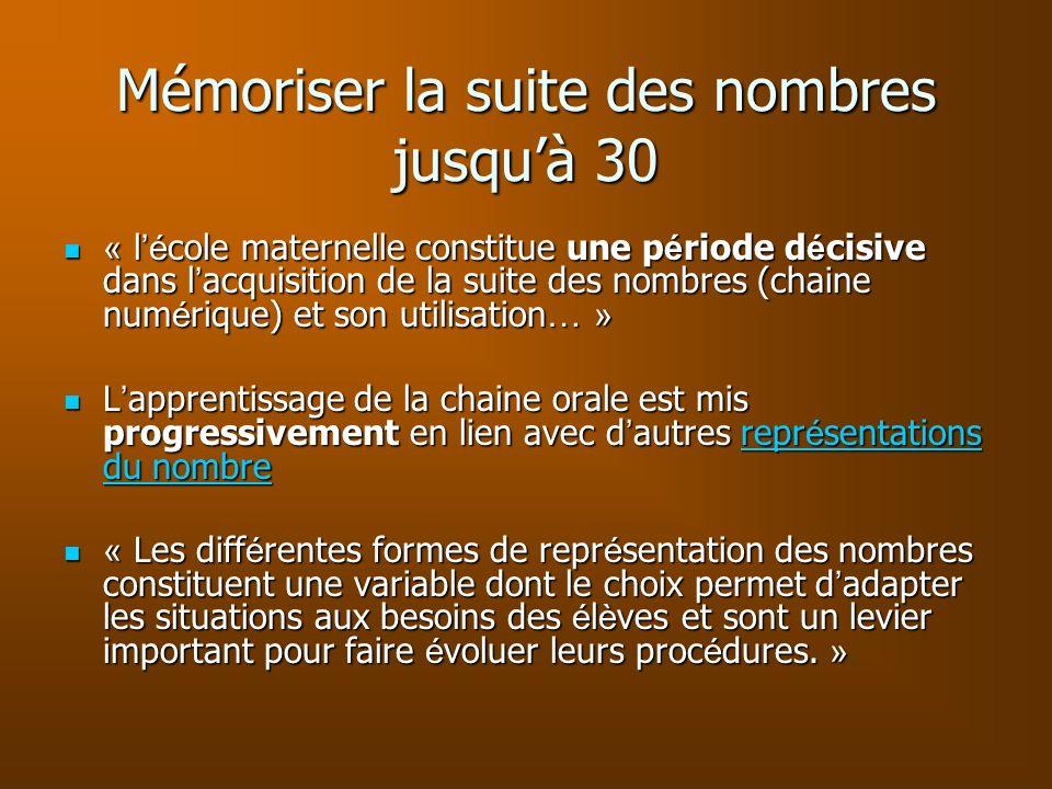 Mémoriser la suite des nombres jusquà 30 « l é cole maternelle constitue une p é riode d é cisive dans l acquisition de la suite des nombres (chaine n