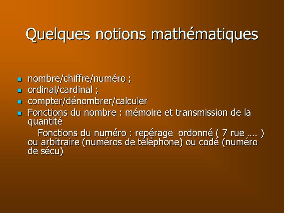 Quelques notions mathématiques nombre/chiffre/numéro ; nombre/chiffre/numéro ; ordinal/cardinal ; ordinal/cardinal ; compter/dénombrer/calculer compte