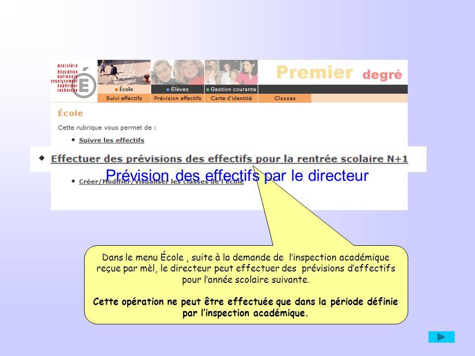 ETAPE 3 Le directeur consulte, édite et valide un des « brouillons » de son choix Cette prévision seffectue en trois étapes successives.