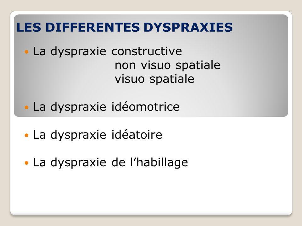 LES DIFFERENTES DYSPRAXIES La dyspraxie constructive non visuo spatiale visuo spatiale La dyspraxie idéomotrice La dyspraxie idéatoire La dyspraxie de