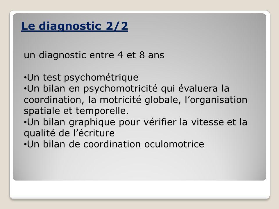 Le diagnostic 2/2 un diagnostic entre 4 et 8 ans Un test psychométrique Un bilan en psychomotricité qui évaluera la coordination, la motricité globale