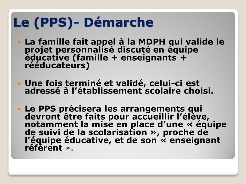 Le (PPS)- Démarche La famille fait appel à la MDPH qui valide le projet personnalisé discuté en équipe éducative (famille + enseignants + rééducateurs