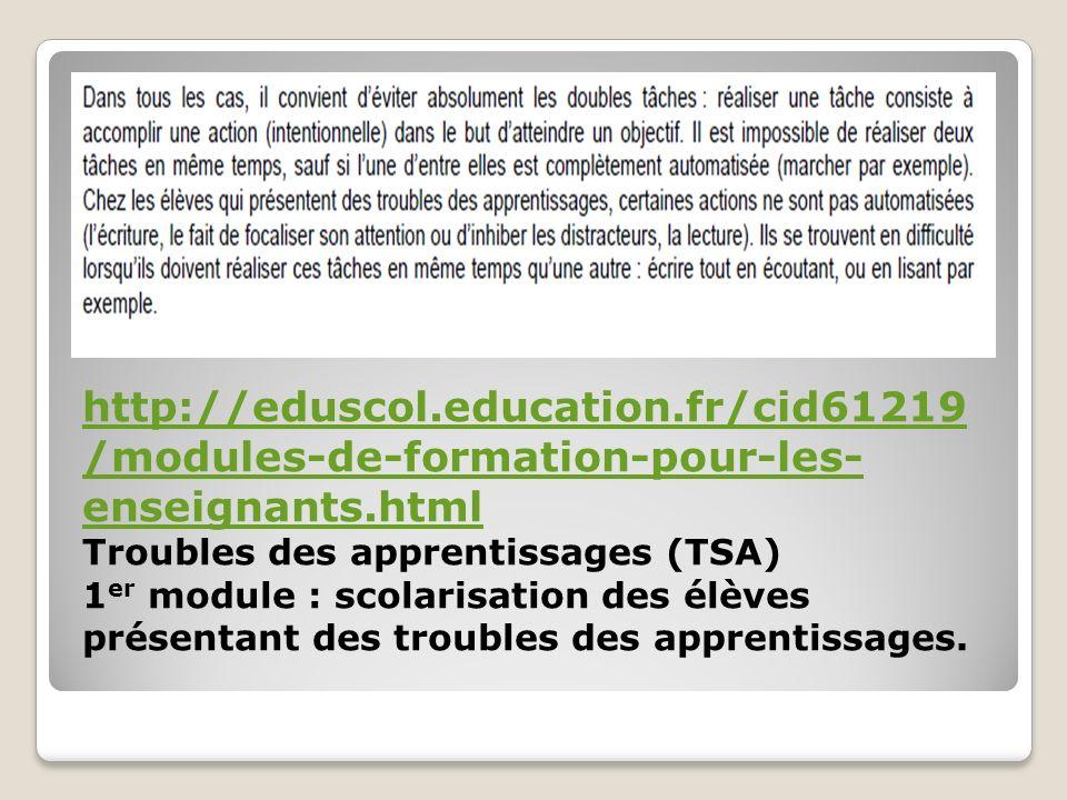 http://eduscol.education.fr/cid61219 /modules-de-formation-pour-les- enseignants.html Troubles des apprentissages (TSA) 1 er module : scolarisation de