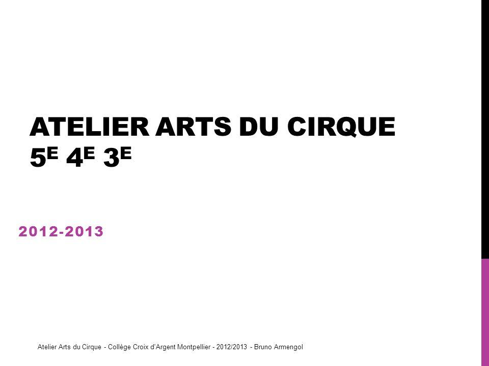 ATELIER ARTS DU CIRQUE 5 E 4 E 3 E 2012-2013 Atelier Arts du Cirque - Collège Croix d'Argent Montpellier - 2012/2013 - Bruno Armengol