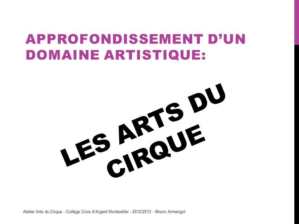 LES ARTS DU CIRQUE APPROFONDISSEMENT DUN DOMAINE ARTISTIQUE: Atelier Arts du Cirque - Collège Croix d'Argent Montpellier - 2012/2013 - Bruno Armengol