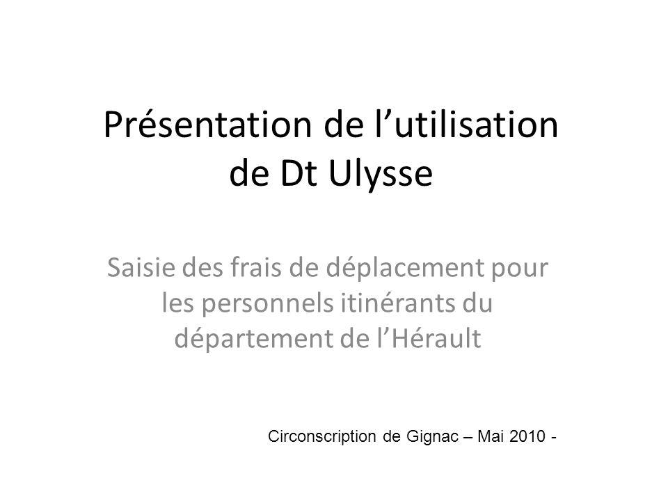 Présentation de lutilisation de Dt Ulysse Saisie des frais de déplacement pour les personnels itinérants du département de lHérault Circonscription de