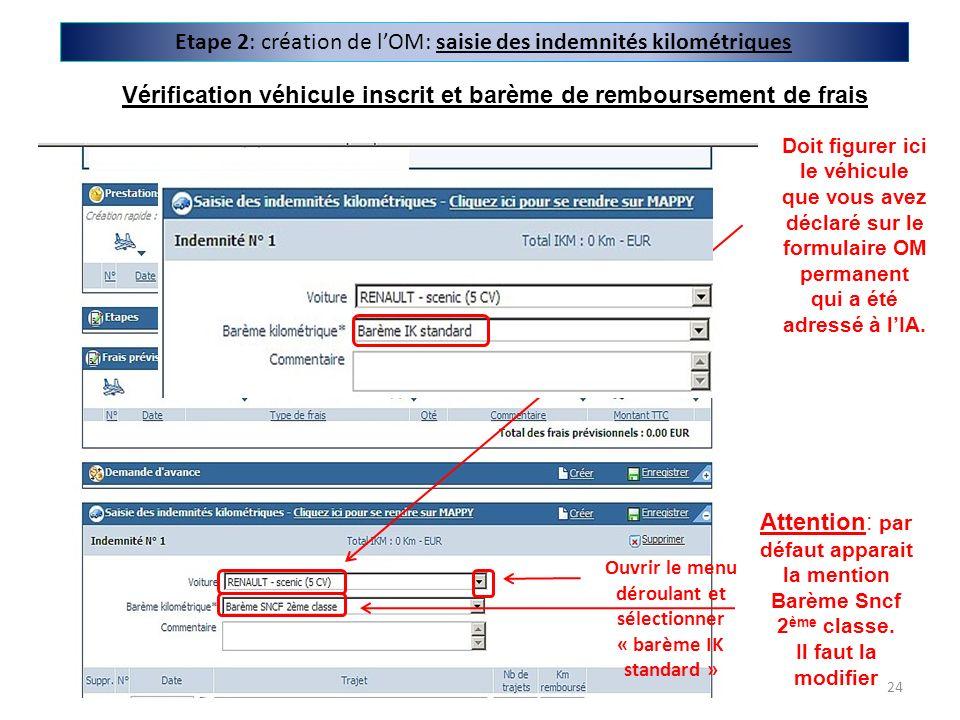 Etape 2: création de lOM: saisie des indemnités kilométriques Doit figurer ici le véhicule que vous avez déclaré sur le formulaire OM permanent qui a