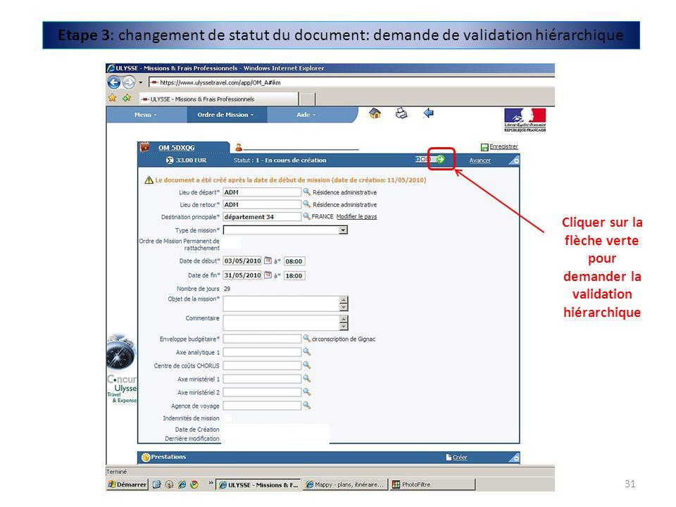 Etape 3: changement de statut du document: demande de validation hiérarchique Cliquer sur la flèche verte pour demander la validation hiérarchique 31