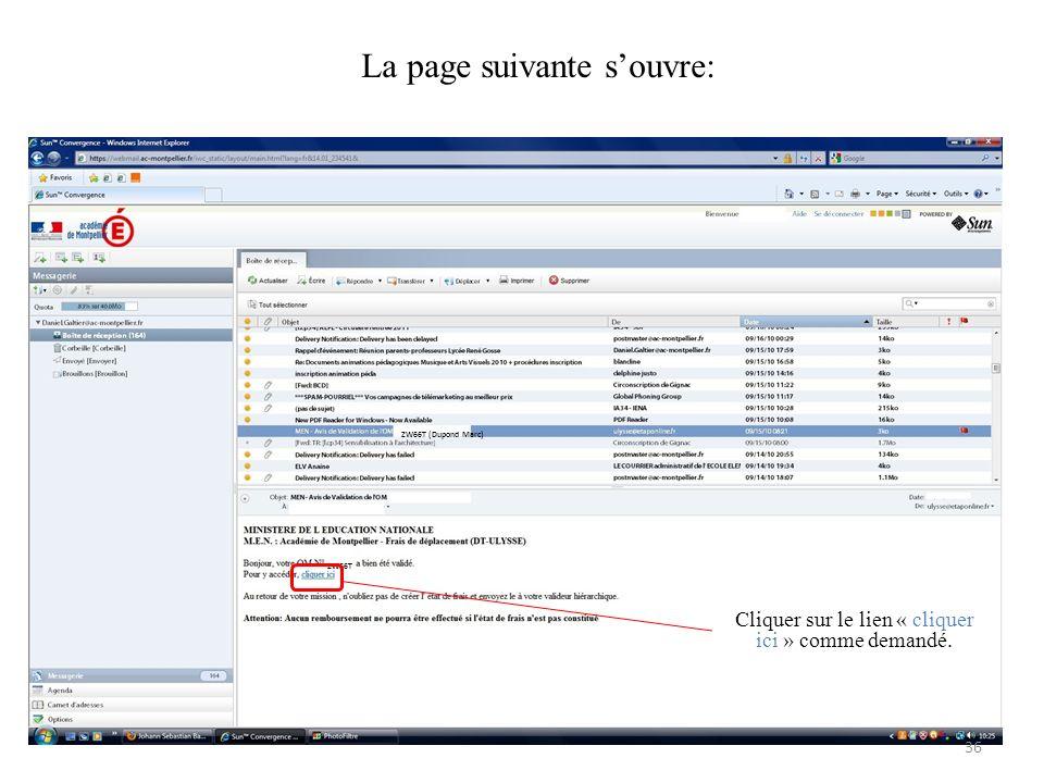 ZW66T (Dupond Marc) ZW66T Cliquer sur le lien « cliquer ici » comme demandé. La page suivante souvre: 36