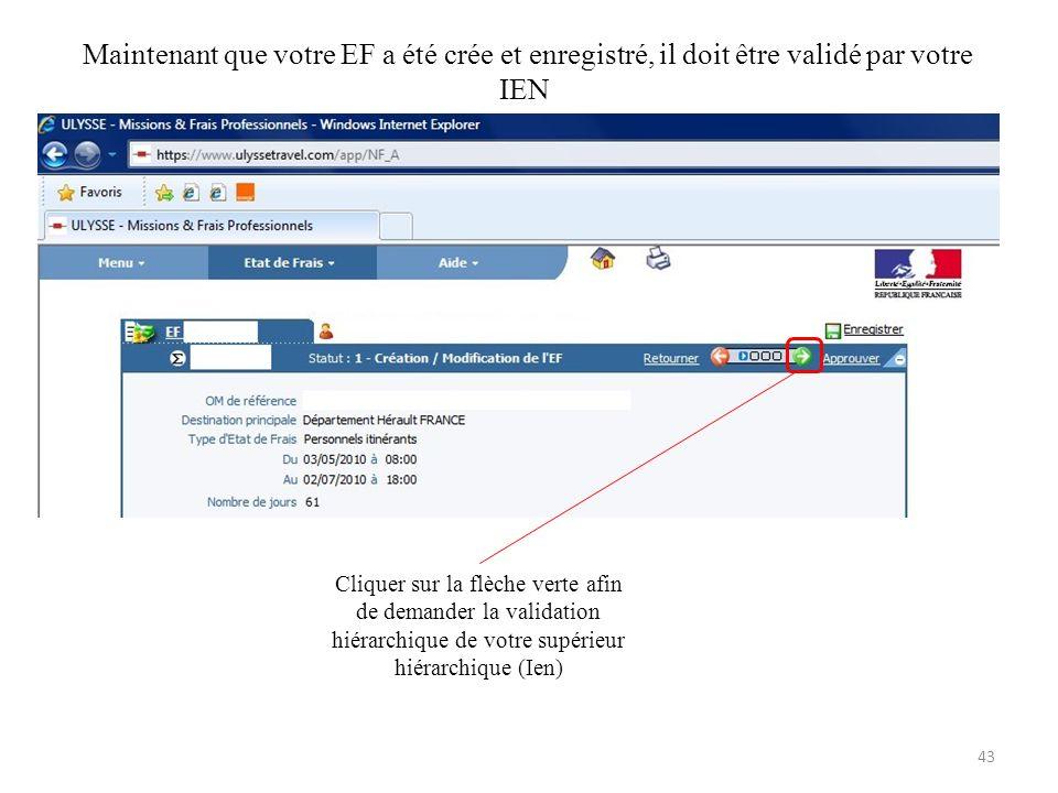 Maintenant que votre EF a été crée et enregistré, il doit être validé par votre IEN Cliquer sur la flèche verte afin de demander la validation hiérarc