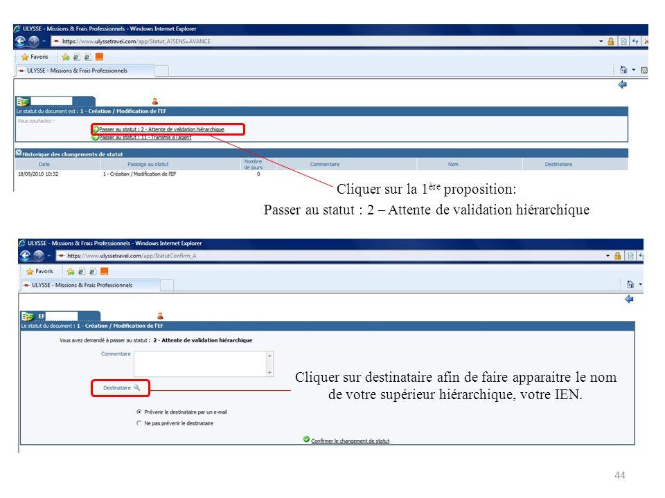 Cliquer sur la 1 ère proposition: Passer au statut : 2 – Attente de validation hiérarchique Cliquer sur destinataire afin de faire apparaitre le nom d