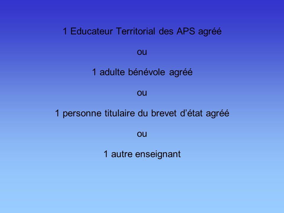 1 Educateur Territorial des APS agréé ou 1 adulte bénévole agréé ou 1 personne titulaire du brevet détat agréé ou 1 autre enseignant